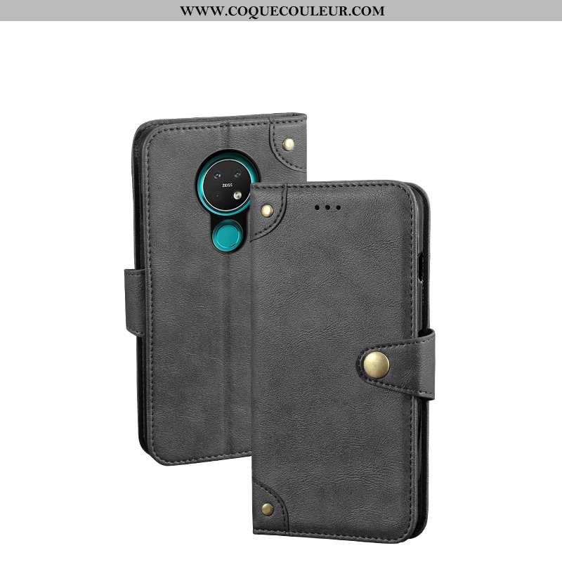 Coque Nokia 7.2 Protection Téléphone Portable Coque, Housse Nokia 7.2 Portefeuille Noir
