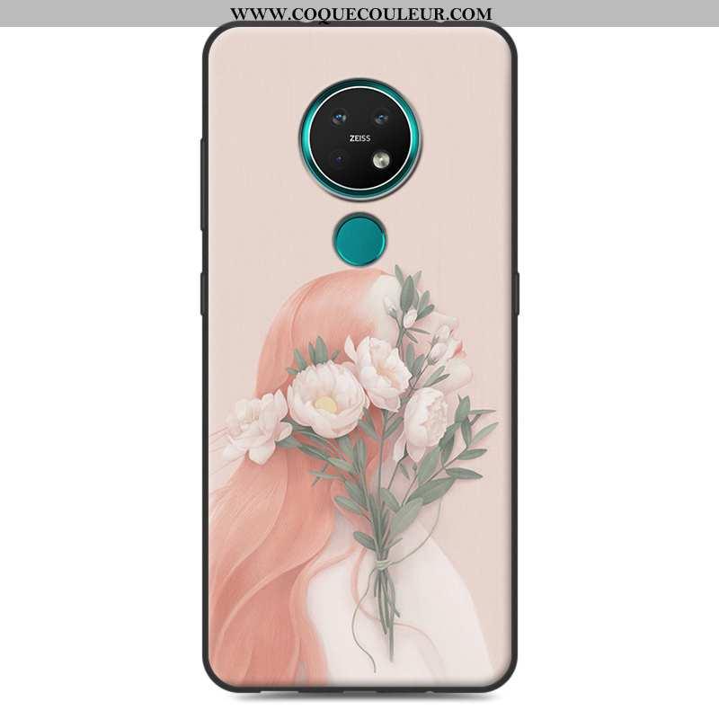 Étui Nokia 7.2 Silicone Incassable Petit, Coque Nokia 7.2 Tout Compris Rose