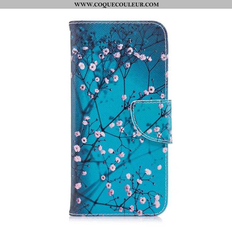 Coque Nokia 7.2 Protection Étui Peinture, Housse Nokia 7.2 Cuir Bleu