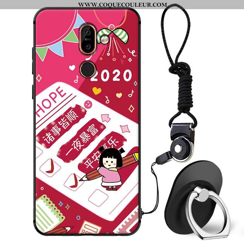 Coque Nokia 7 Plus Protection Étui Téléphone Portable, Housse Nokia 7 Plus Dessin Animé Charmant Rou