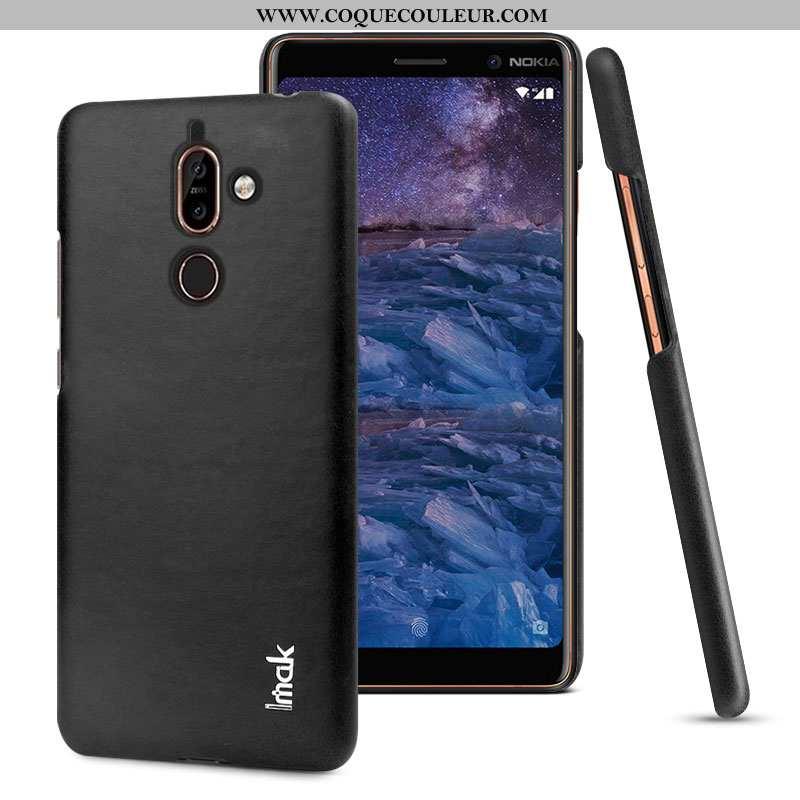 Housse Nokia 7 Plus Modèle Fleurie Coque Simple, Étui Nokia 7 Plus Protection Noir