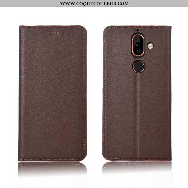 Étui Nokia 7 Plus Cuir Nouveau Étui, Coque Nokia 7 Plus Fluide Doux Téléphone Portable Marron
