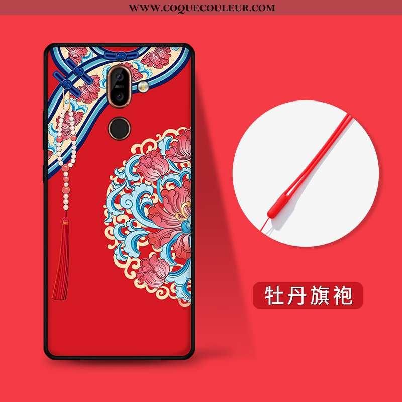 Housse Nokia 7 Plus Personnalité Rouge Étui, Étui Nokia 7 Plus Gaufrage Incassable