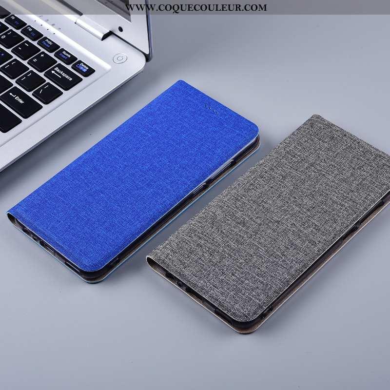 Étui Nokia 7 Plus Protection Silicone, Coque Nokia 7 Plus Cuir Lin Bleu