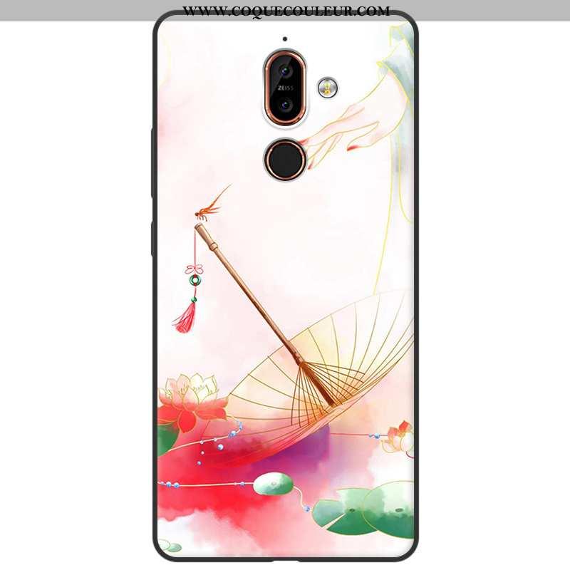 Étui Nokia 7 Plus Délavé En Daim Silicone Style Chinois, Coque Nokia 7 Plus Fluide Doux Simple Rouge