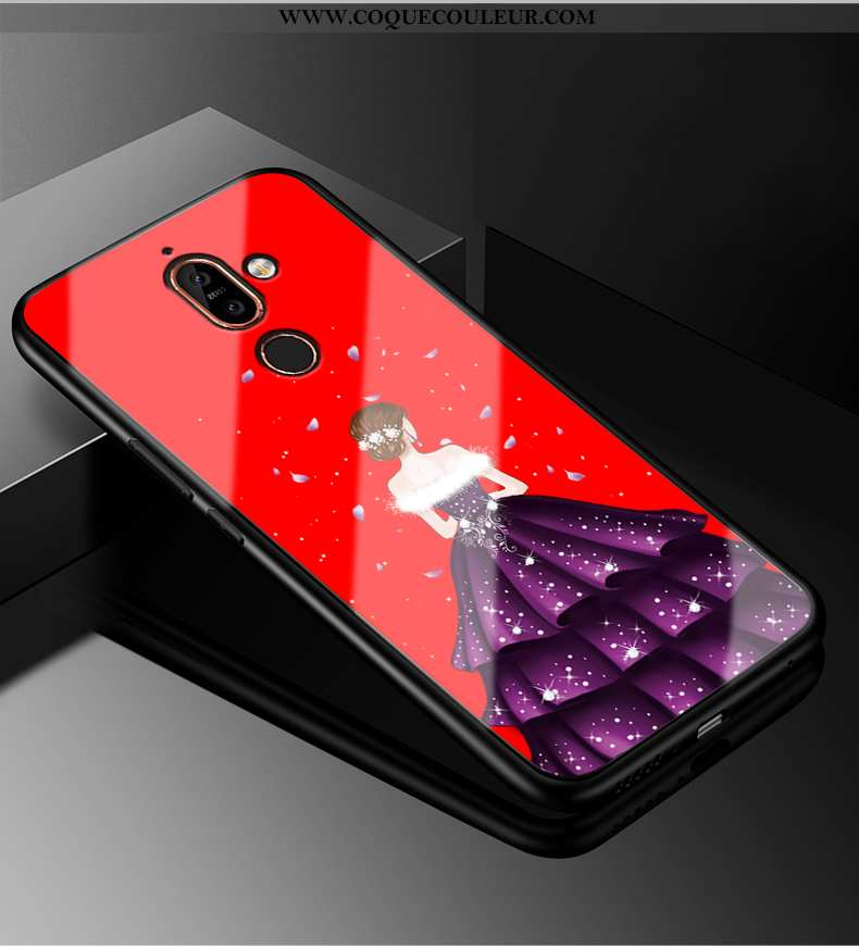 Coque Nokia 7 Plus Personnalité Téléphone Portable Rouge, Housse Nokia 7 Plus Tendance Mode Rouge