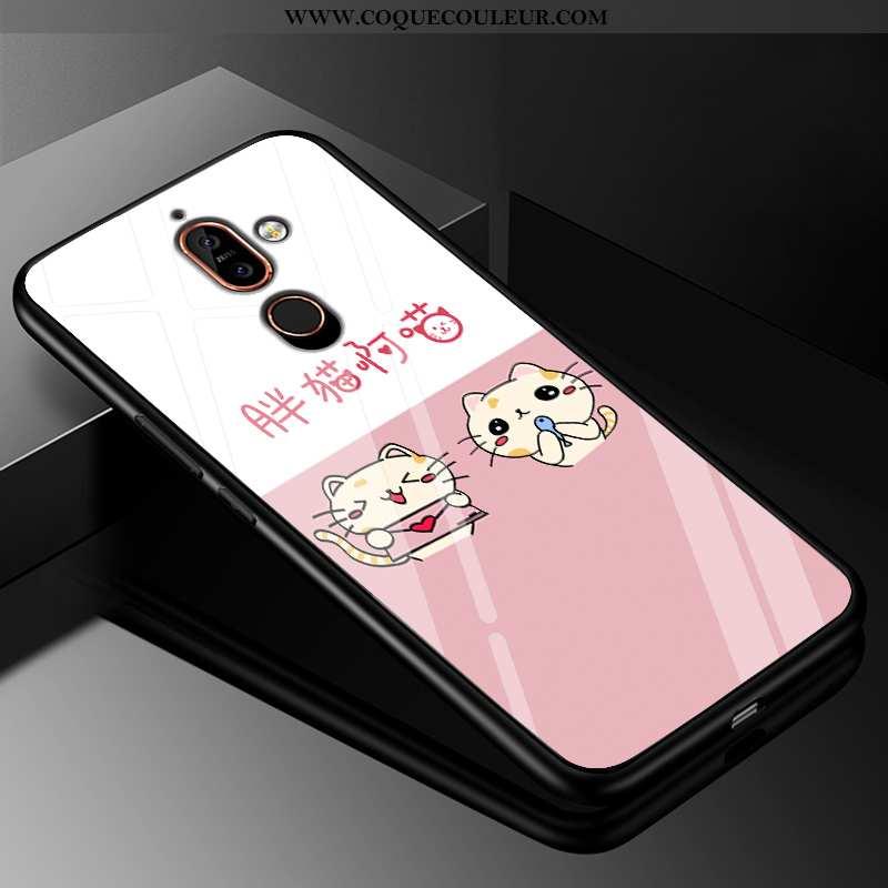 Étui Nokia 7 Plus Silicone Incassable Charmant, Coque Nokia 7 Plus Protection Amoureux Rose