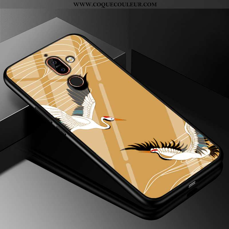 Coque Nokia 7 Plus Silicone Tendance Jaune, Housse Nokia 7 Plus Mode Tout Compris Jaune