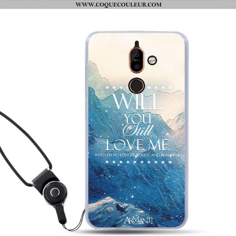Étui Nokia 7 Plus Protection Bleu Tout Compris, Coque Nokia 7 Plus Tendance Téléphone Portable