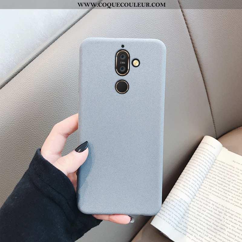Étui Nokia 7 Plus Fluide Doux Simple Net Rouge, Coque Nokia 7 Plus Silicone Protection Gris