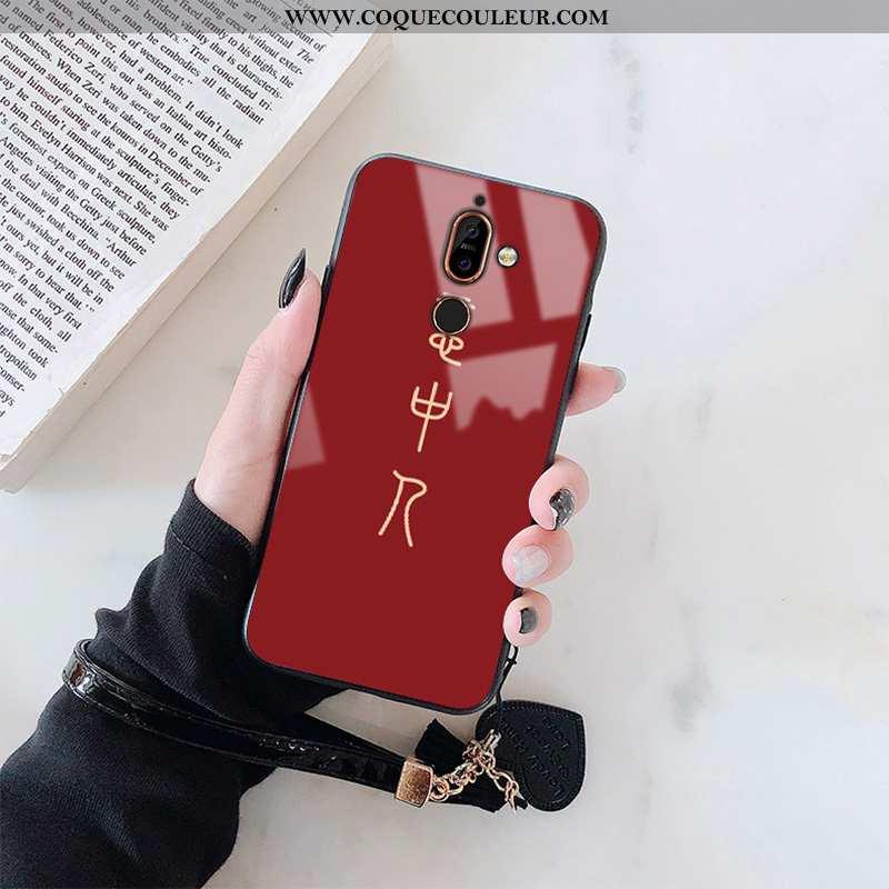 Étui Nokia 7 Plus Protection Créatif Téléphone Portable, Coque Nokia 7 Plus Verre Rouge