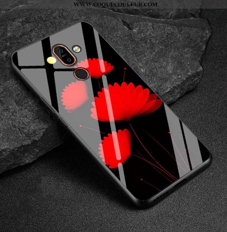 Coque Nokia 7 Plus Protection Simple Étui, Housse Nokia 7 Plus Verre Tendance Noir