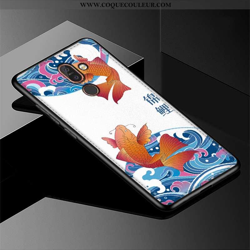 Housse Nokia 7 Plus Cuir Incassable Téléphone Portable, Étui Nokia 7 Plus Modèle Fleurie Créatif Ble
