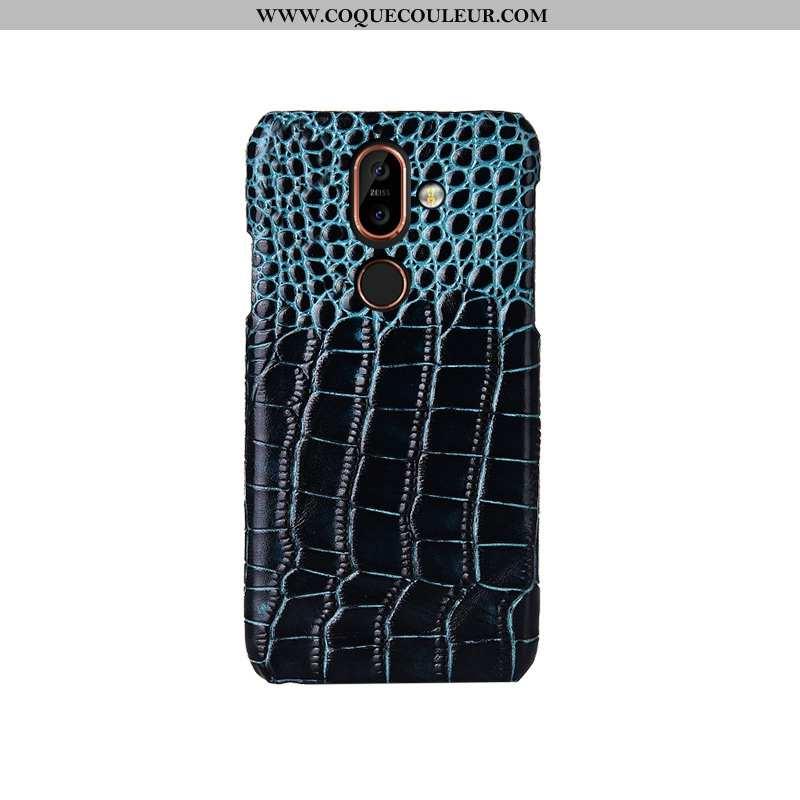 Housse Nokia 7 Plus Mode Bleu Modèle Fleurie, Étui Nokia 7 Plus Protection Téléphone Portable