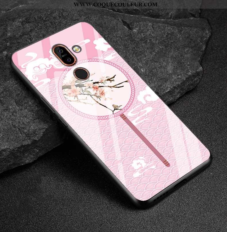Coque Nokia 7 Plus Verre Téléphone Portable Richesse, Housse Nokia 7 Plus Délavé En Daim Nouveau Ros