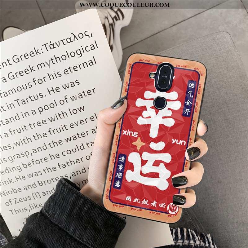 Étui Nokia 8.1 Modèle Fleurie Losange Étui, Coque Nokia 8.1 Nouveau Rouge