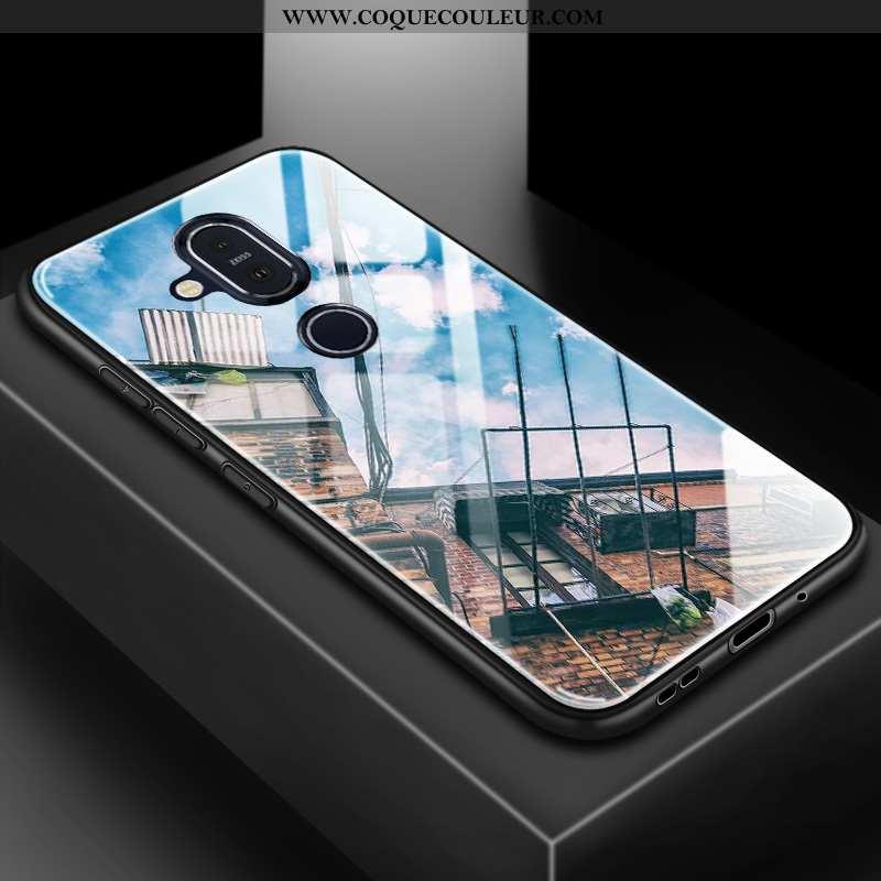 Housse Nokia 8.1 Verre Silicone Étui, Étui Nokia 8.1 Tendance Difficile Bleu