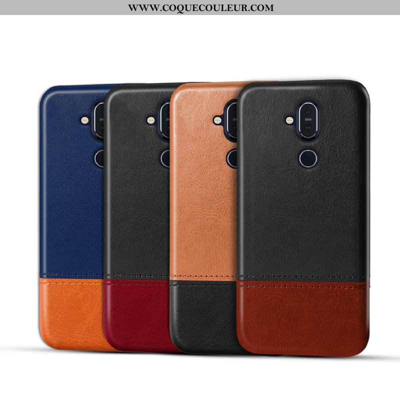 Housse Nokia 8.1 Protection Téléphone Portable Cuir, Étui Nokia 8.1 Personnalité Coque Marron