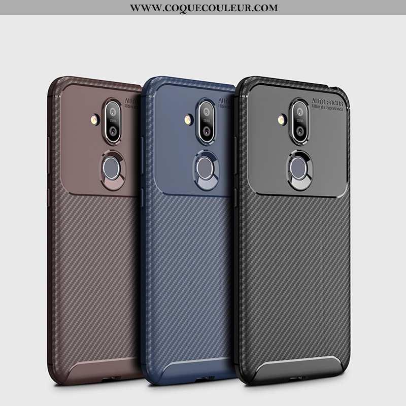 Étui Nokia 8.1 Fluide Doux Fibre Incassable, Coque Nokia 8.1 Silicone Marron