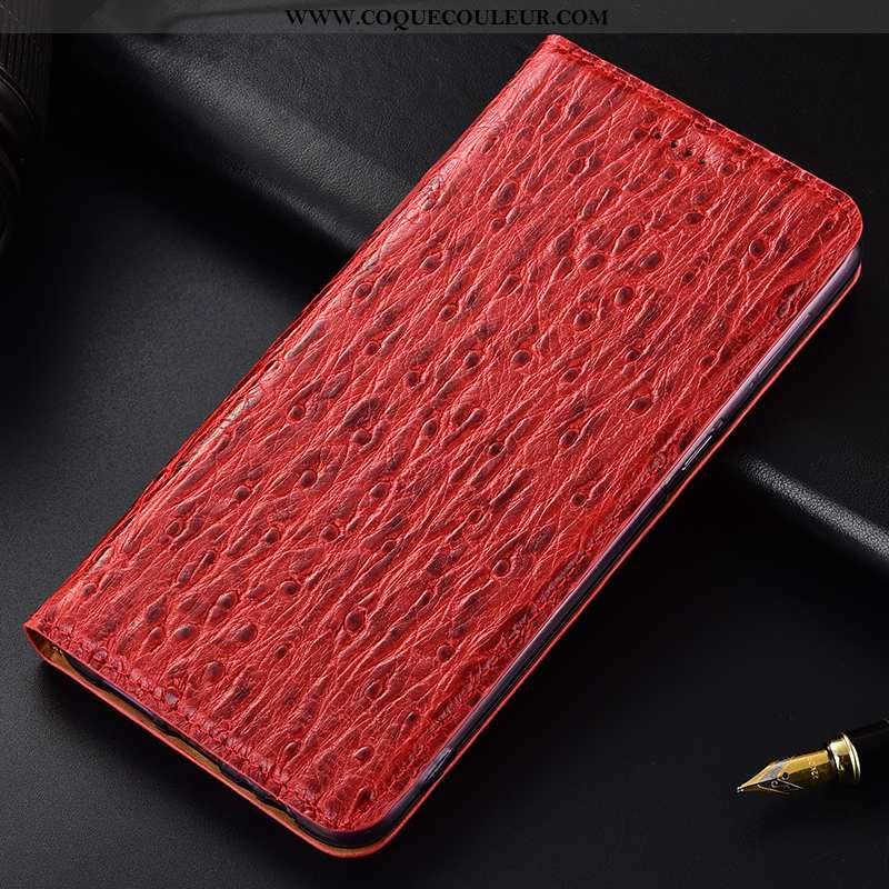 Housse Nokia 8.1 Cuir Véritable Rouge Oiseau, Étui Nokia 8.1 Protection