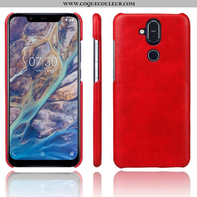 Coque Nokia 8.1 Protection Rouge Coque, Housse Nokia 8.1 Cuir Téléphone Portable