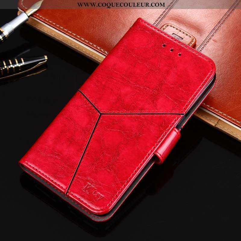 Housse Nokia 8.1 Cuir Coque Tout Compris, Étui Nokia 8.1 Modèle Fleurie Rouge