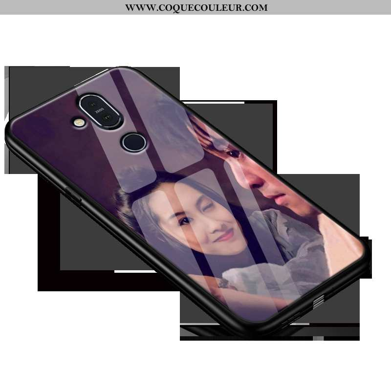 Housse Nokia 8.1 Protection Téléphone Portable Délavé En Daim, Étui Nokia 8.1 Verre Simple Violet