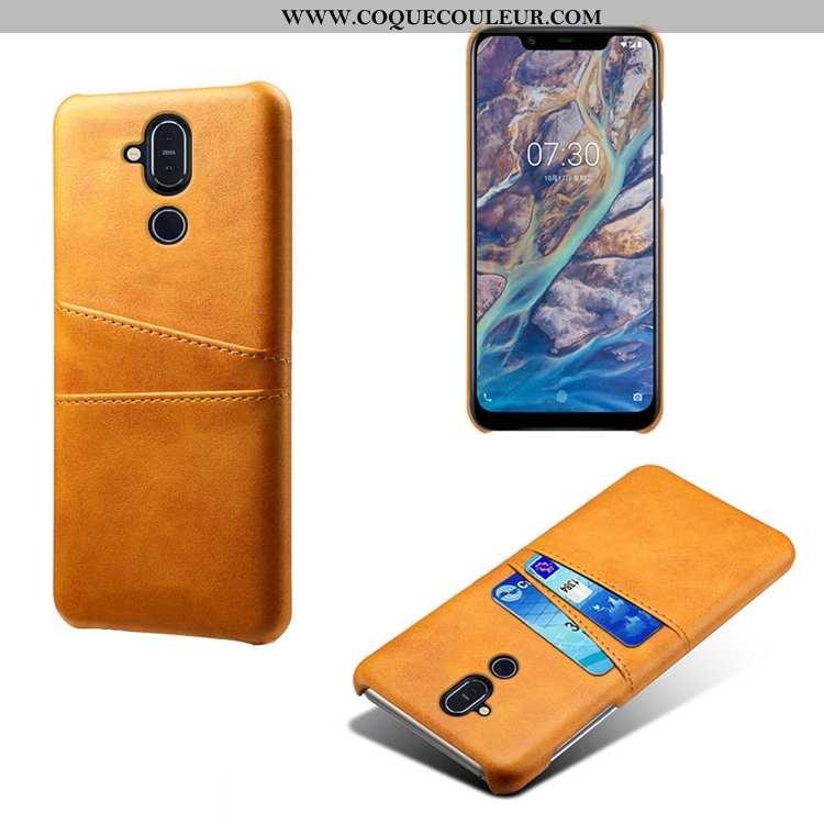 Étui Nokia 8.1 Ultra Petit Modèle Fleurie, Coque Nokia 8.1 Légère Créatif Jaune