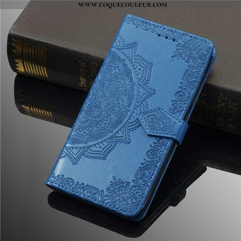 Étui Nokia 8.1 Protection Coque Gaufrage, Nokia 8.1 Ornements Suspendus Couleur Unie Bleu