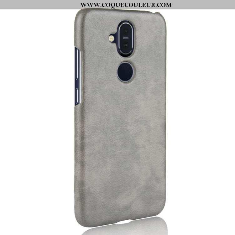 Étui Nokia 8.1 Cuir Protection Gris, Coque Nokia 8.1 Modèle Fleurie Difficile Gris