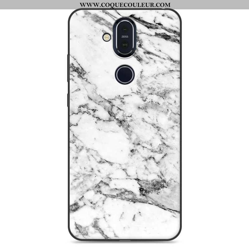 Coque Nokia 8.1 Protection Peinture Étui, Housse Nokia 8.1 Personnalité Blanc Blanche