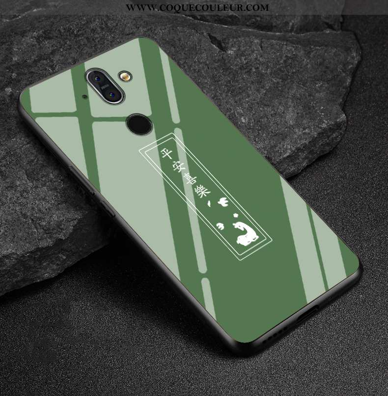 Étui Nokia 8 Sirocco Verre Vert Coque, Coque Nokia 8 Sirocco Délavé En Daim Verte