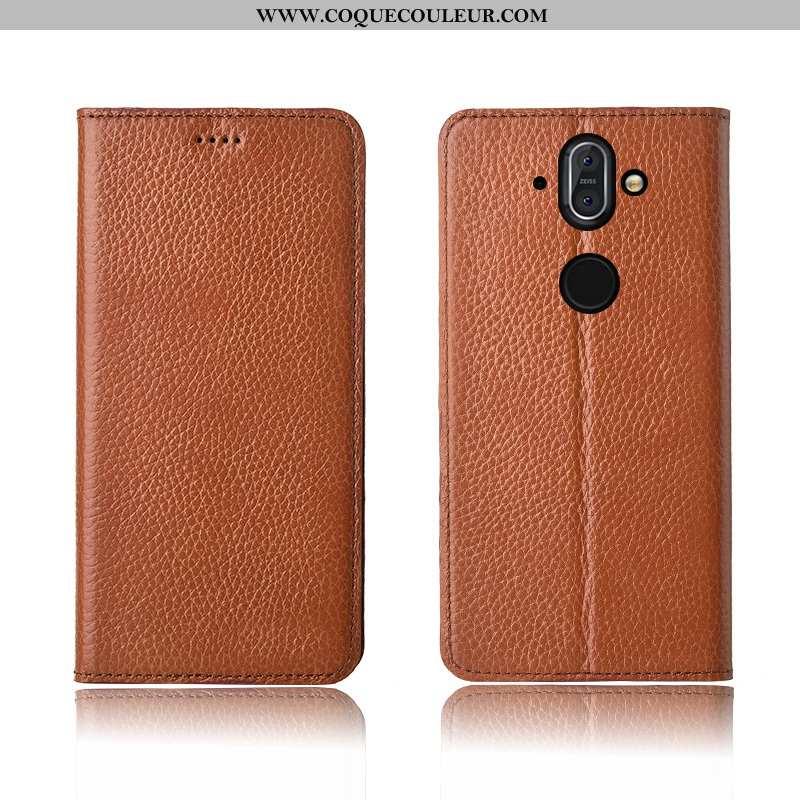Coque Nokia 8 Sirocco Fluide Doux Haute, Housse Nokia 8 Sirocco Silicone Cuir Véritable Marron