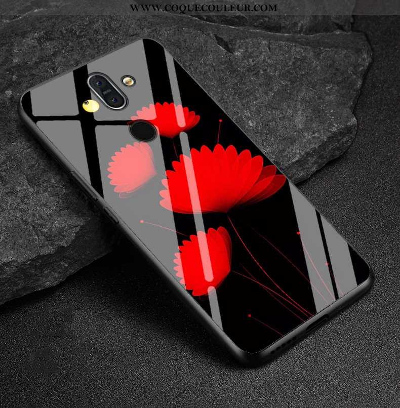 Étui Nokia 8 Sirocco Verre Coque Rouge, Nokia 8 Sirocco Créatif Dessin Animé Rouge