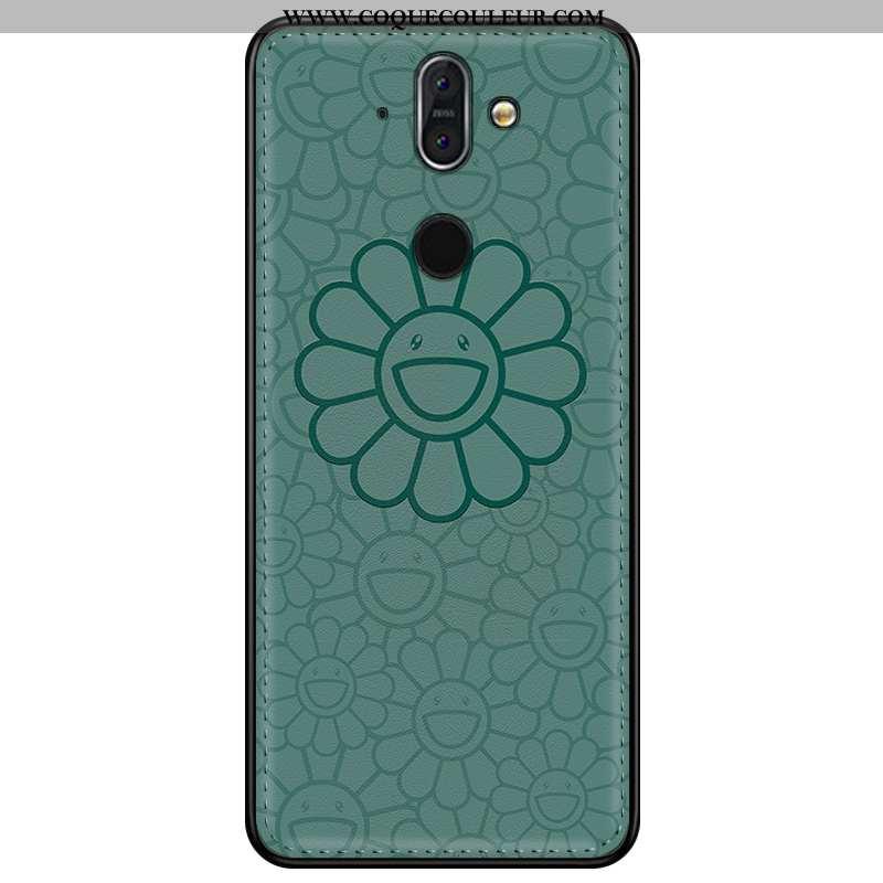 Coque Nokia 8 Sirocco Tendance 2020 Personnalisé, Housse Nokia 8 Sirocco Cuir Incassable Verte