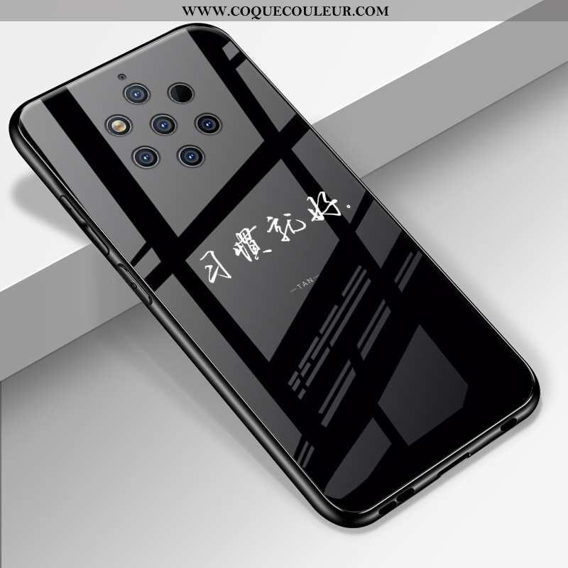 Housse Nokia 9 Pureview Verre Miroir Protection, Étui Nokia 9 Pureview Personnalité Fluide Doux Noir
