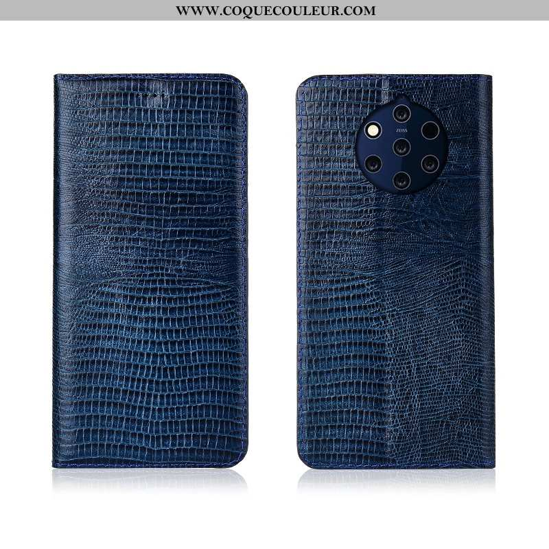 Étui Nokia 9 Pureview Protection Bleu Marin, Coque Nokia 9 Pureview Cuir Véritable Silicone Bleu Fon