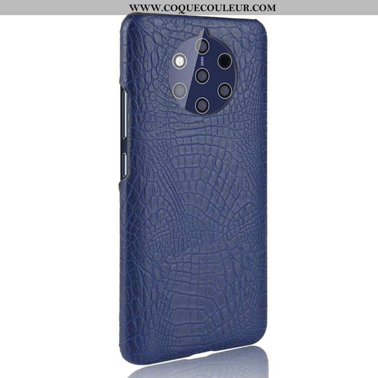 Coque Nokia 9 Pureview Modèle Fleurie Bleu Marin Coque, Housse Nokia 9 Pureview Protection Crocodile