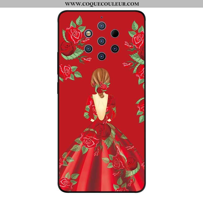 Housse Nokia 9 Pureview Verre Coque Étui, Étui Nokia 9 Pureview Créatif Téléphone Portable Rouge