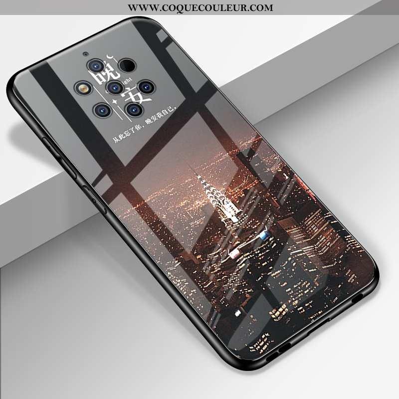 Coque Nokia 9 Pureview Protection Dessin Animé Miroir, Housse Nokia 9 Pureview Verre Personnalité No