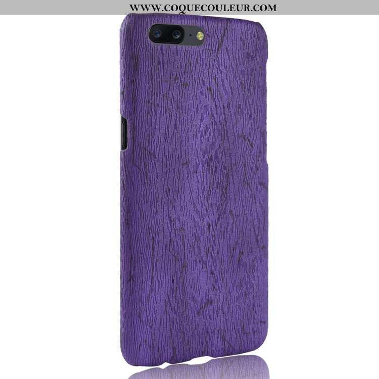 Coque Oneplus 5 Cuir Téléphone Portable Incassable, Housse Oneplus 5 Modèle Fleurie Étui Violet