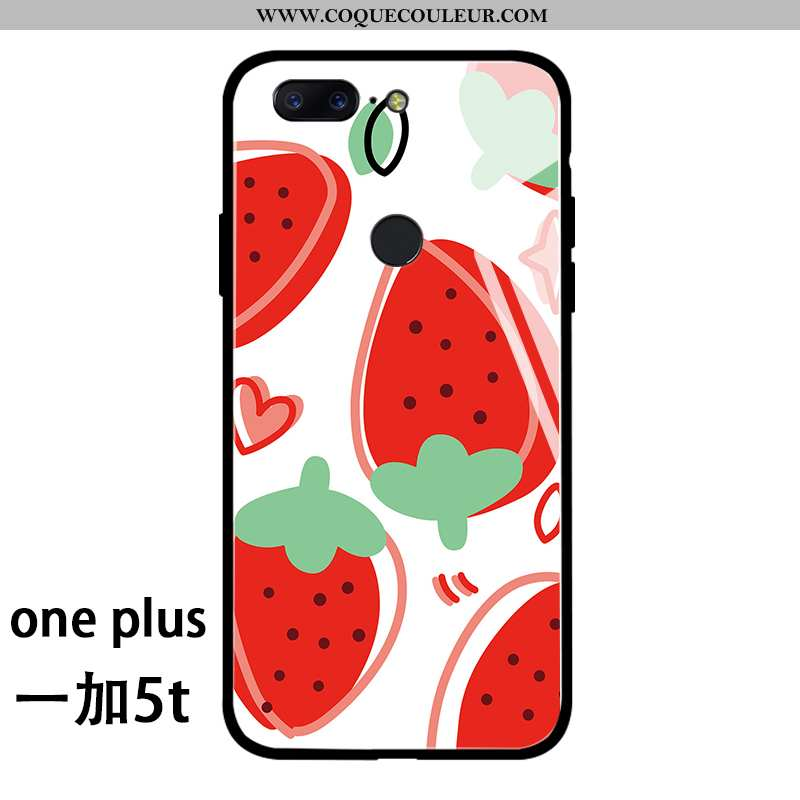 Étui Oneplus 5t Protection Cœur Incassable, Coque Oneplus 5t Verre Silicone Rouge