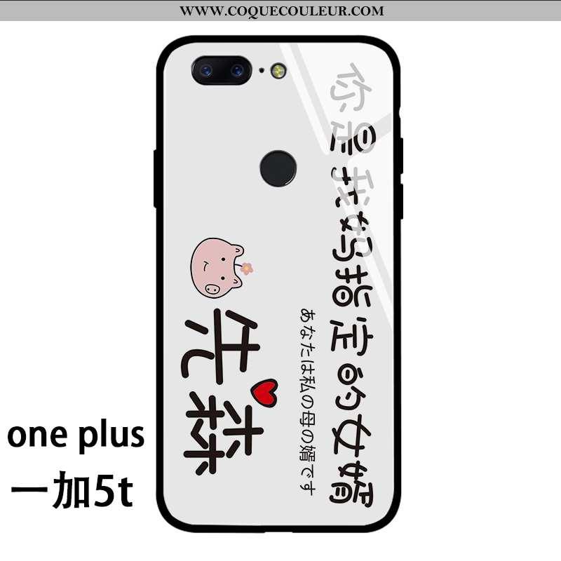Étui Oneplus 5t Protection Simple Tendance, Coque Oneplus 5t Verre Net Rouge Blanche