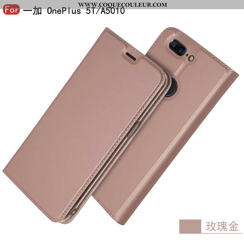 Coque Oneplus 5t Protection Carte Coque, Housse Oneplus 5t Cuir Tout Compris Rose