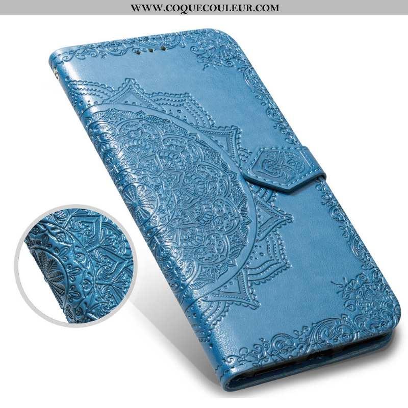 Housse Oneplus 6 Gaufrage Tout Compris Créatif, Étui Oneplus 6 Vintage Clamshell Bleu