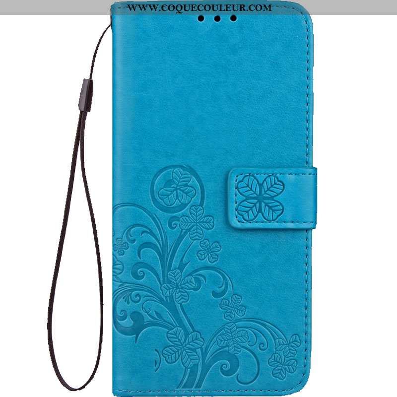 Housse Oneplus 6 Protection Étui, Étui Oneplus 6 Cuir Incassable Bleu