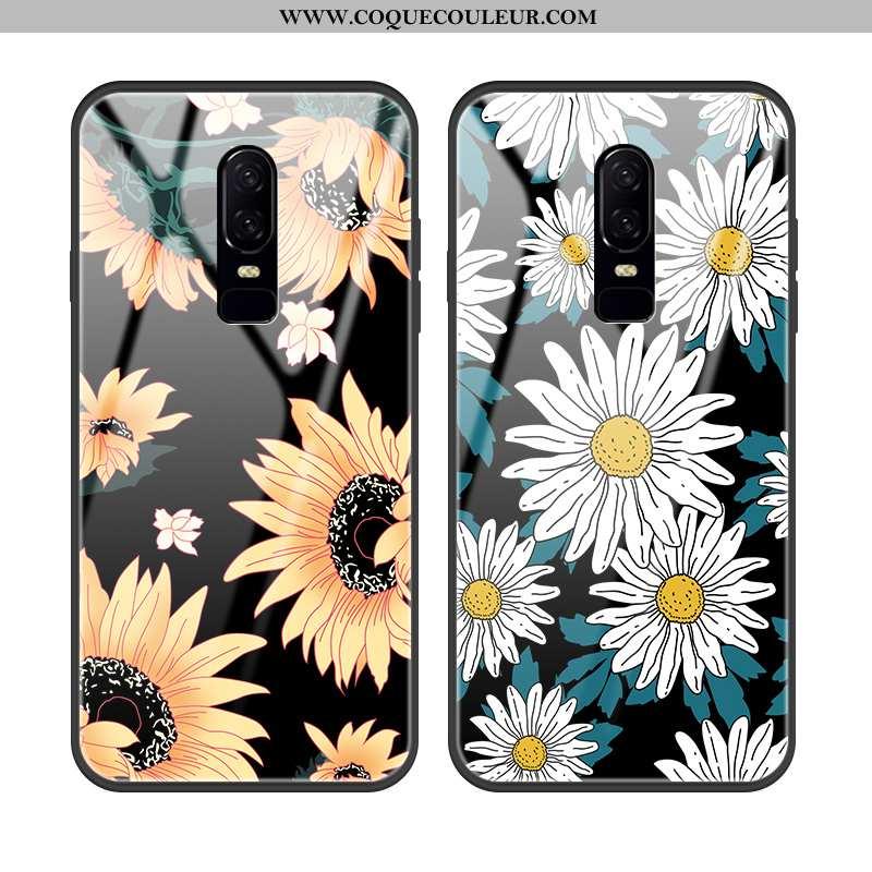 Coque Oneplus 6 Protection Incassable Téléphone Portable, Housse Oneplus 6 Verre Fleur Noir