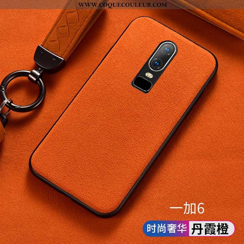 Housse Oneplus 6 Créatif Protection Silicone, Étui Oneplus 6 Fluide Doux Business Orange