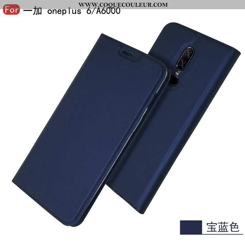 Coque Oneplus 6 Cuir Business Clamshell, Housse Oneplus 6 Protection Incassable Bleu Foncé