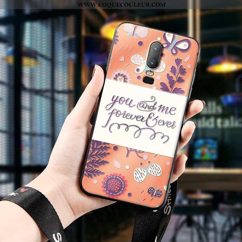 Coque Oneplus 6 Créatif Incassable Téléphone Portable, Housse Oneplus 6 Gaufrage Étui Orange